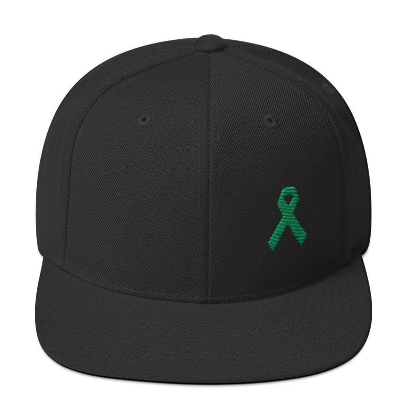 Green Awareness Ribbon Flat Brim Snapback Hat - One-size / Black - Hats