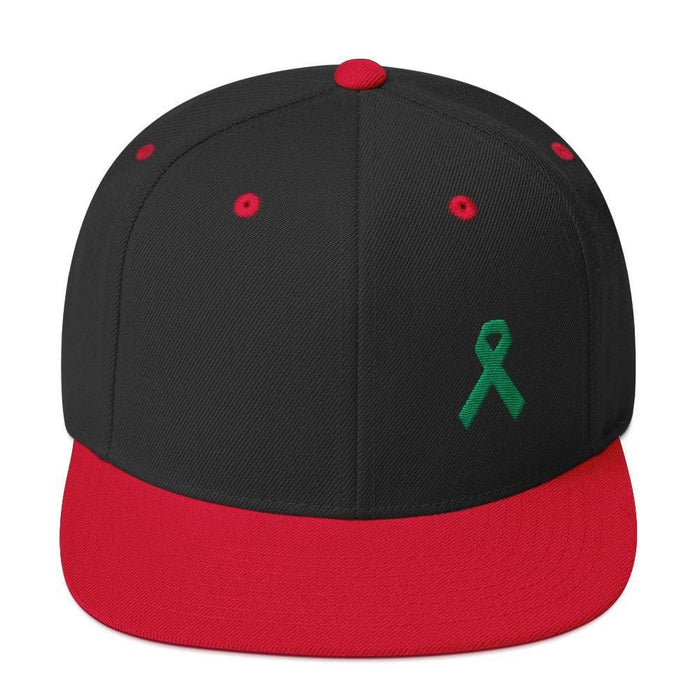 Green Awareness Ribbon Flat Brim Snapback Hat - One-size / Black/ Red - Hats