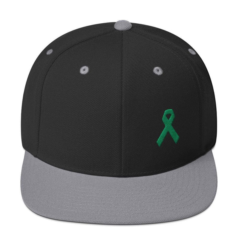 Green Awareness Ribbon Flat Brim Snapback Hat - One-size / Black/ Silver - Hats