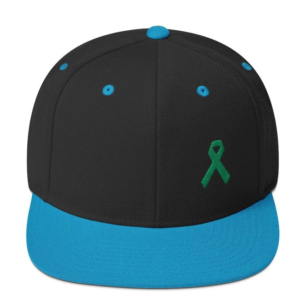 Green Awareness Ribbon Flat Brim Snapback Hat - One-size / Black/ Teal - Hats