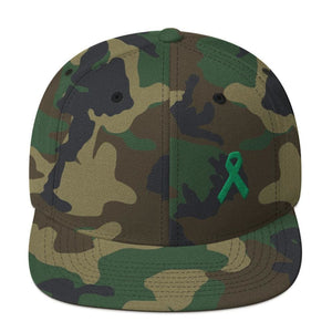 Green Awareness Ribbon Flat Brim Snapback Hat - One-size / Green Camo - Hats