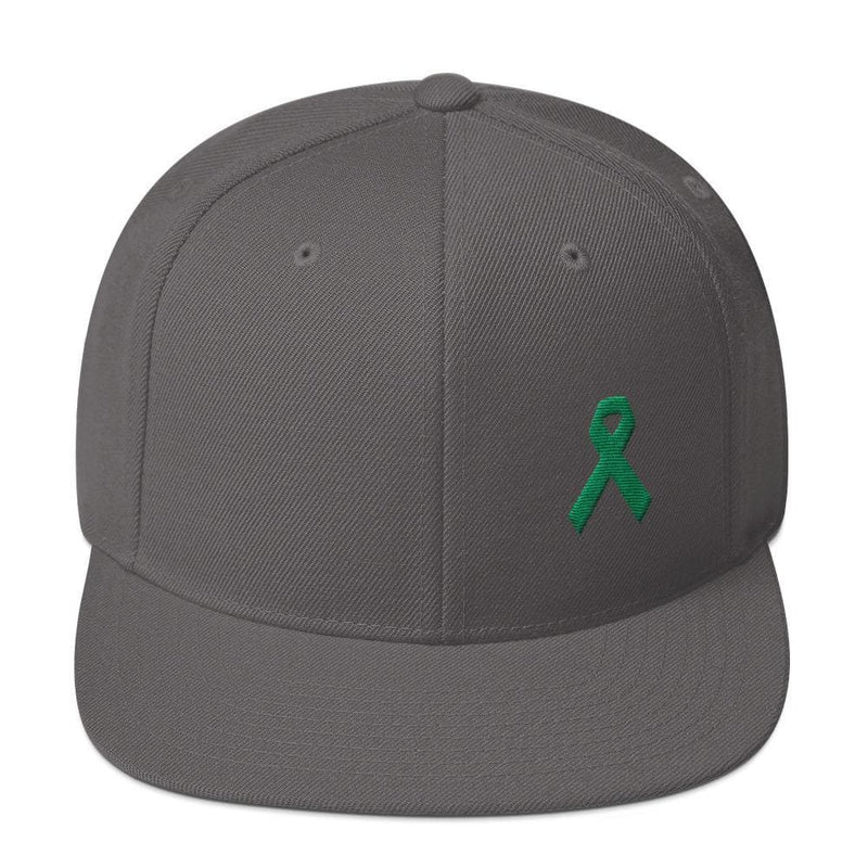 Green Awareness Ribbon Flat Brim Snapback Hat - One-size / Dark Grey - Hats