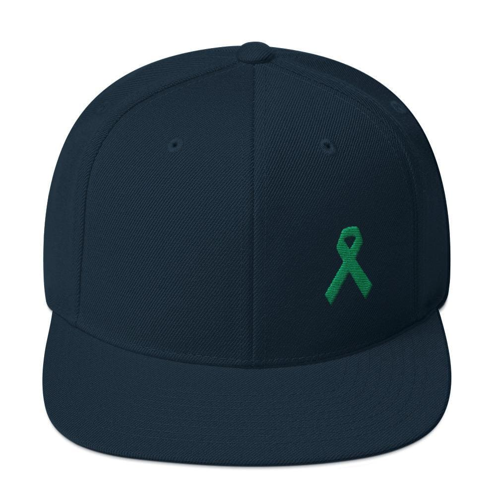 Green Awareness Ribbon Flat Brim Snapback Hat - One-size / Dark Navy - Hats