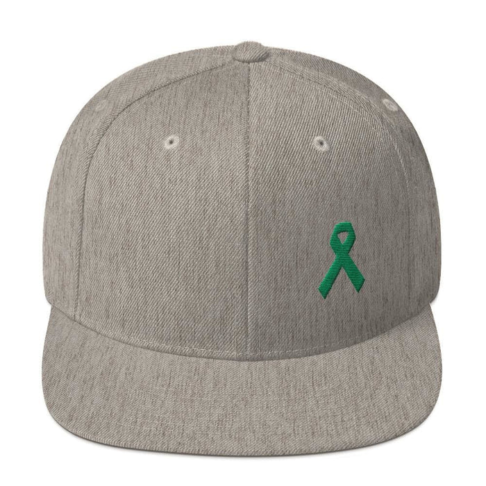 Green Awareness Ribbon Flat Brim Snapback Hat - One-size / Heather Grey - Hats