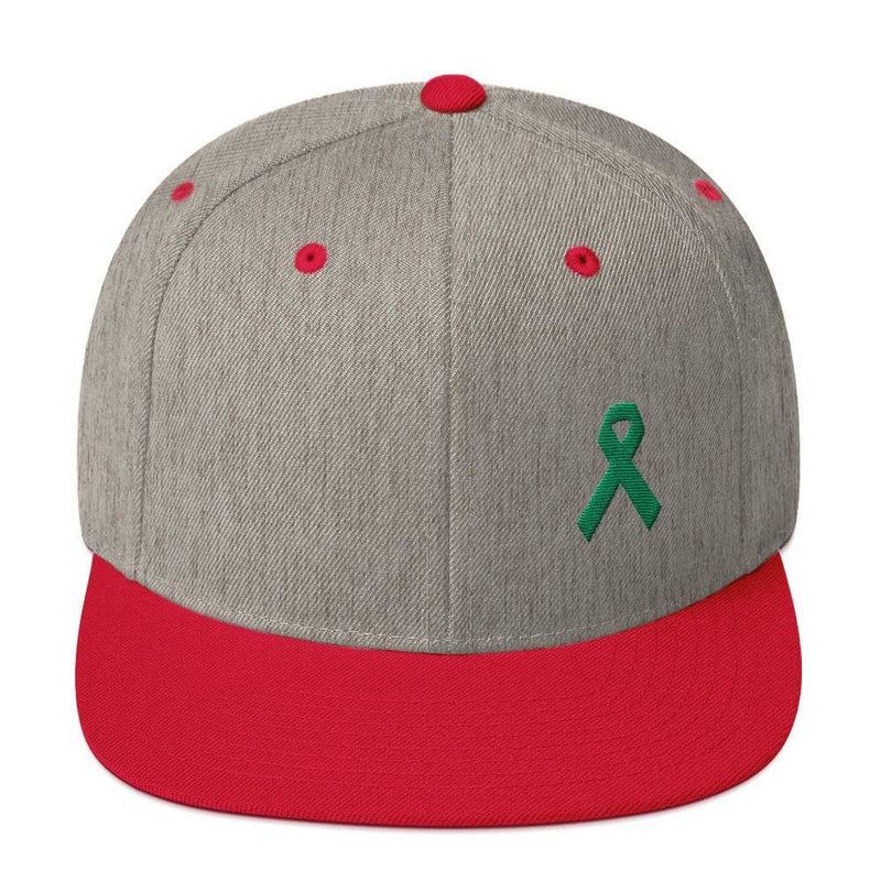 Green Awareness Ribbon Flat Brim Snapback Hat - One-size / Heather Grey/ Red - Hats