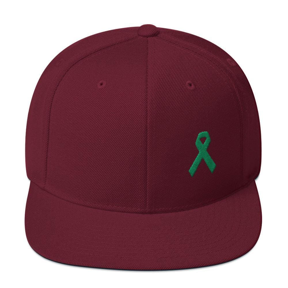 Green Awareness Ribbon Flat Brim Snapback Hat - One-size / Maroon - Hats