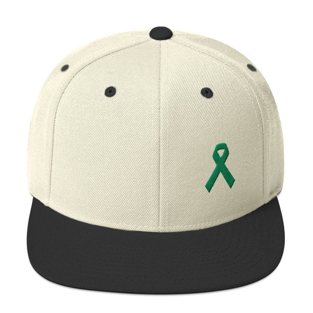 Green Awareness Ribbon Flat Brim Snapback Hat - One-size / Natural/ Black - Hats