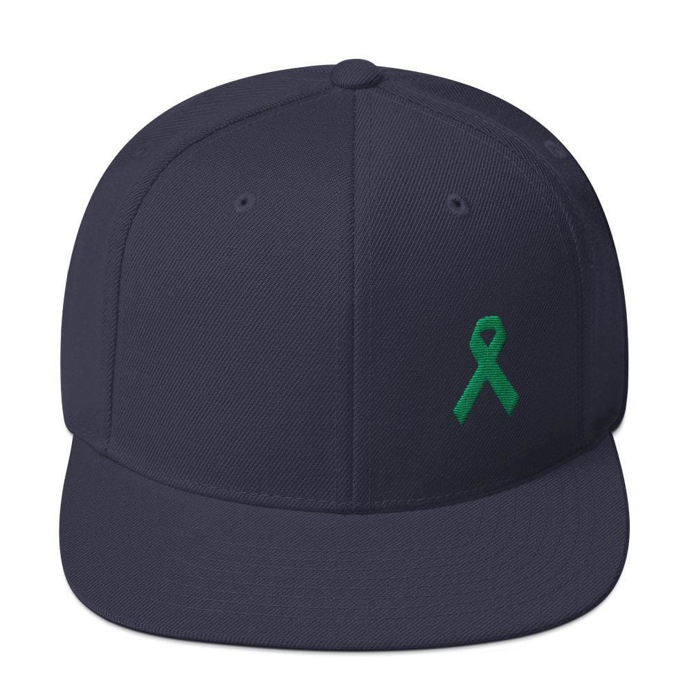 Green Awareness Ribbon Flat Brim Snapback Hat - One-size / Navy - Hats