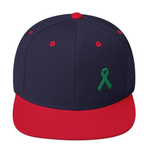Green Awareness Ribbon Flat Brim Snapback Hat - One-size / Navy/ Red - Hats