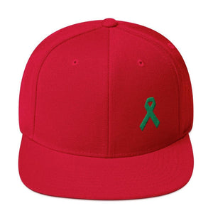 Green Awareness Ribbon Flat Brim Snapback Hat - One-size / Red - Hats