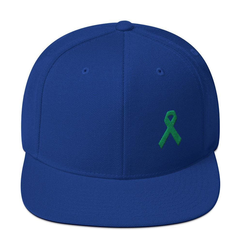 Green Awareness Ribbon Flat Brim Snapback Hat - One-size / Royal Blue - Hats
