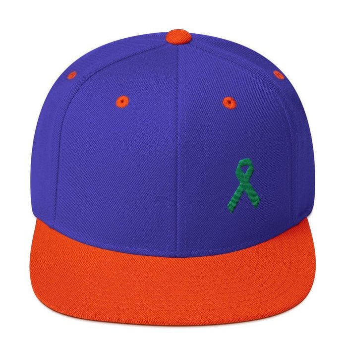 Green Awareness Ribbon Flat Brim Snapback Hat - One-size / Royal/ Orange - Hats