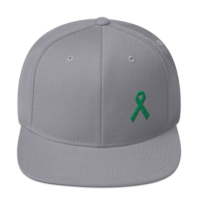 Green Awareness Ribbon Flat Brim Snapback Hat - One-size / Silver - Hats