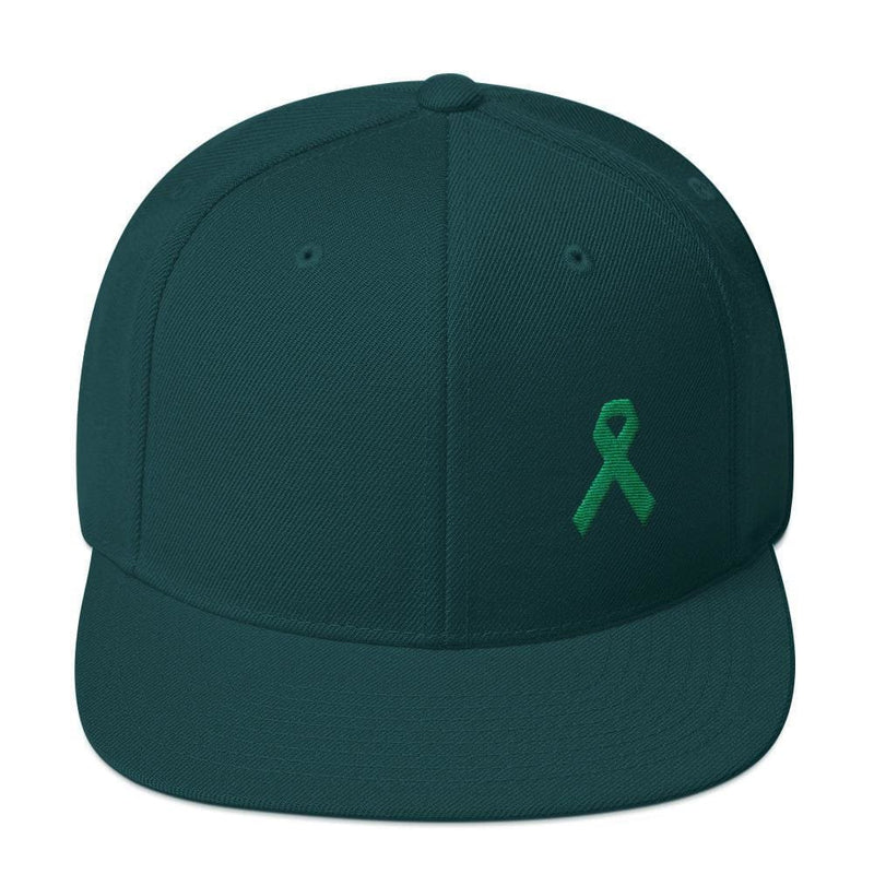 Green Awareness Ribbon Flat Brim Snapback Hat - One-size / Spruce - Hats