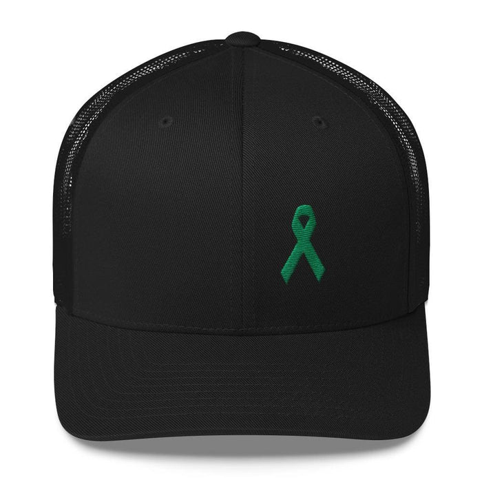Green Awareness Ribbon Snapback Trucker Hat - One-size / Black - Hats