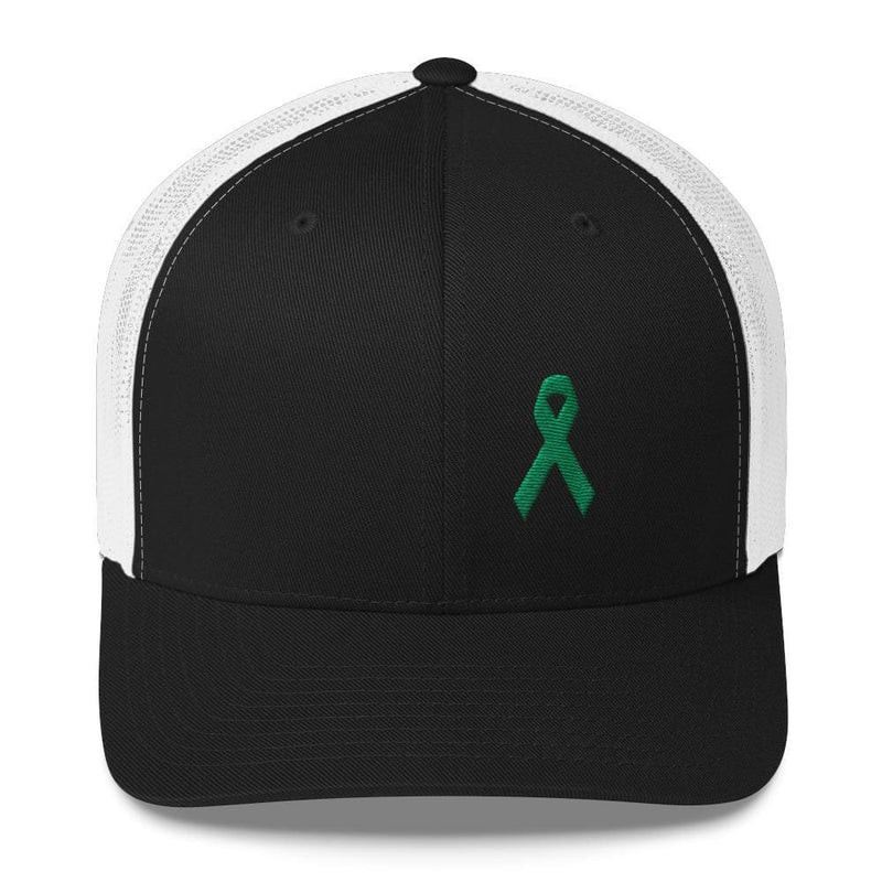 Green Awareness Ribbon Snapback Trucker Hat - One-size / Black/ White - Hats