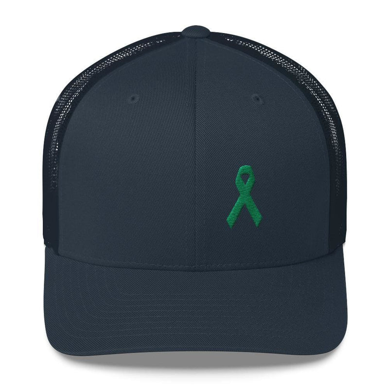 Green Awareness Ribbon Snapback Trucker Hat - One-size / Navy - Hats