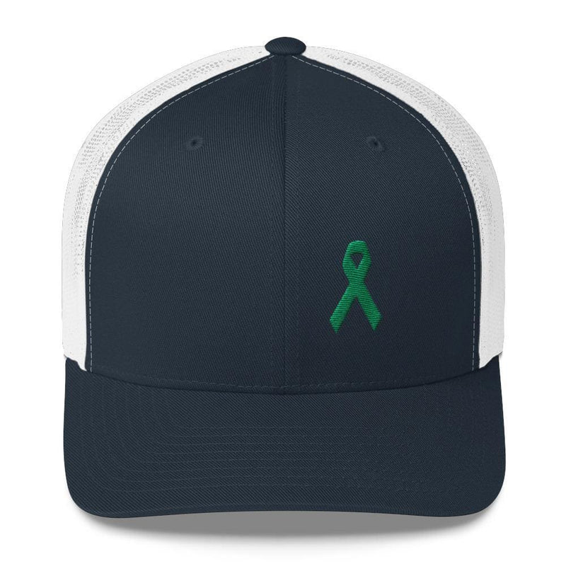 Green Awareness Ribbon Snapback Trucker Hat - One-size / Navy/ White - Hats