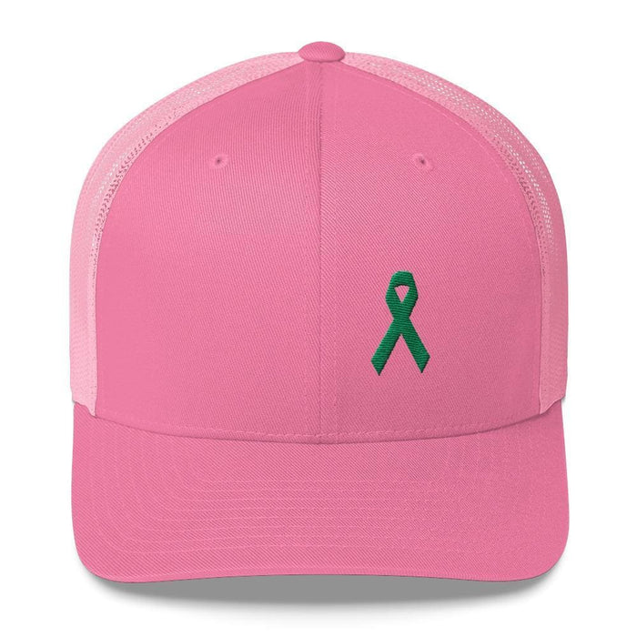 Green Awareness Ribbon Snapback Trucker Hat - One-size / Pink - Hats