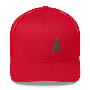 Load image into Gallery viewer, Green Awareness Ribbon Snapback Trucker Hat - One-size / Red - Hats