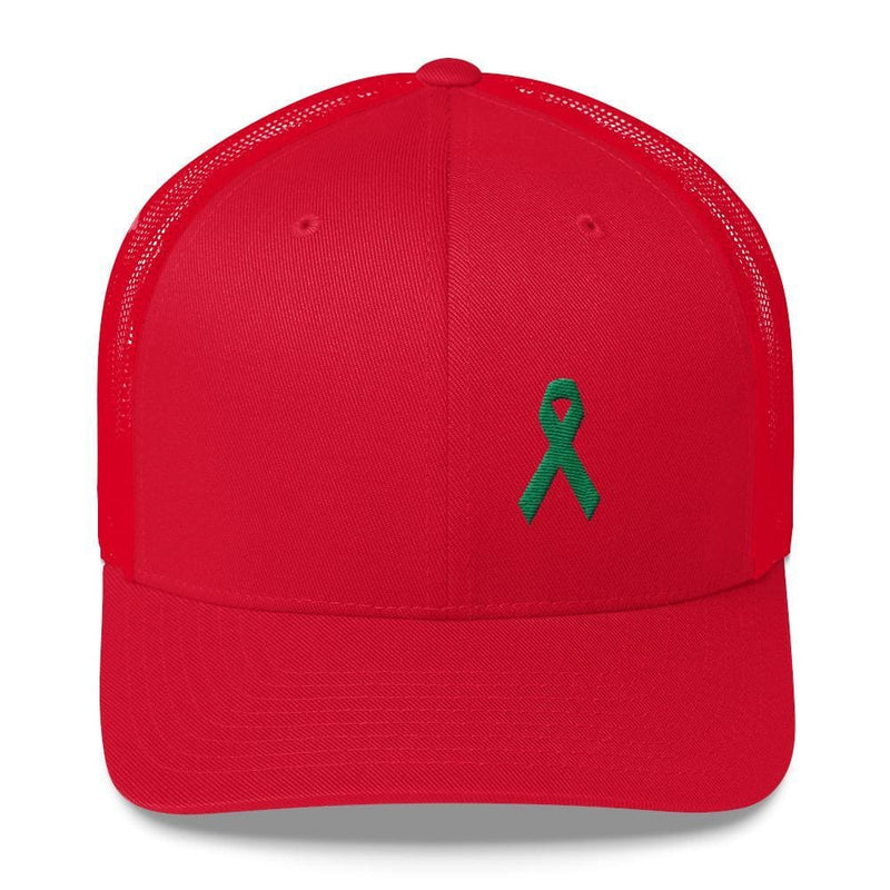 Green Awareness Ribbon Snapback Trucker Hat - One-size / Red - Hats