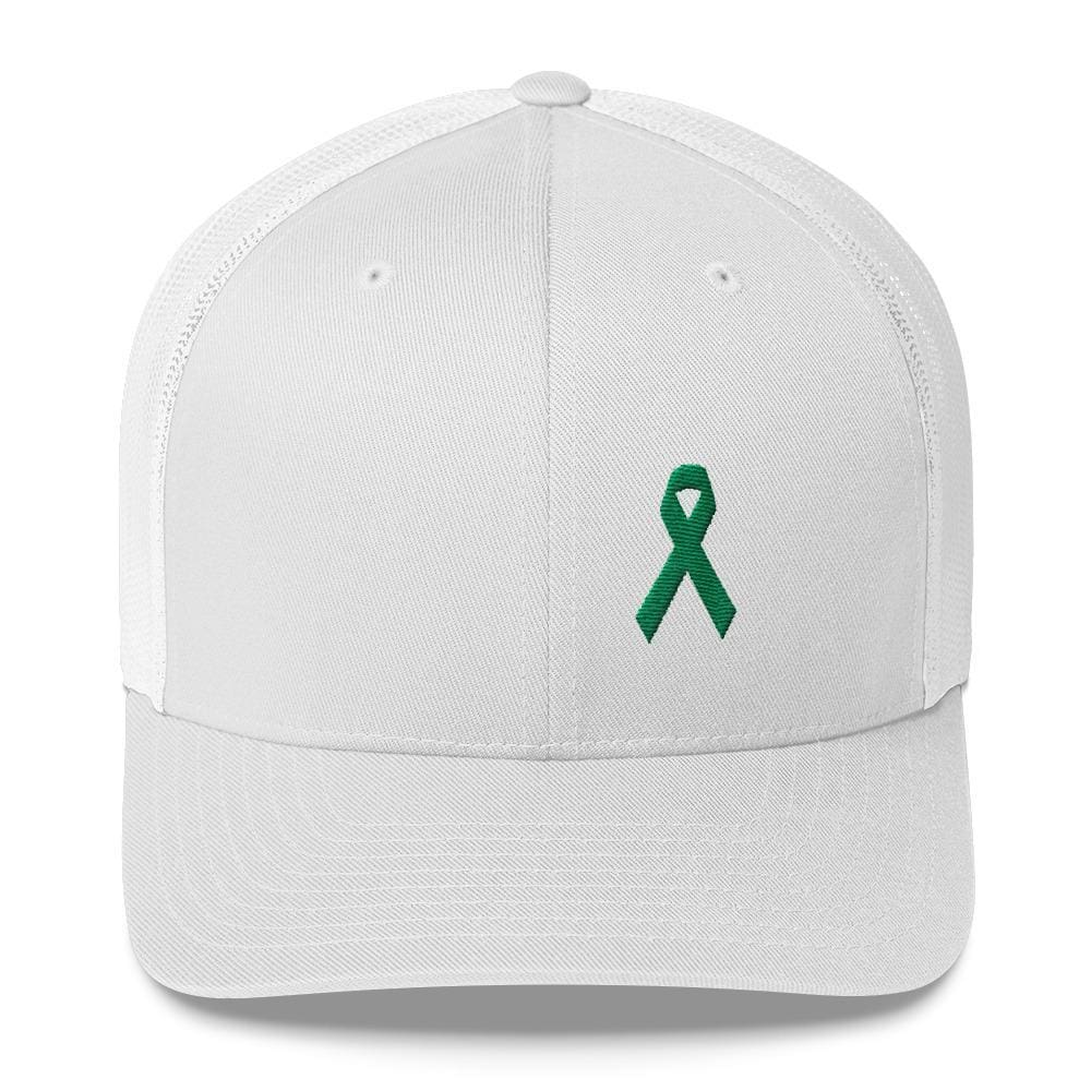 Green Awareness Ribbon Snapback Trucker Hat - One-size / White - Hats