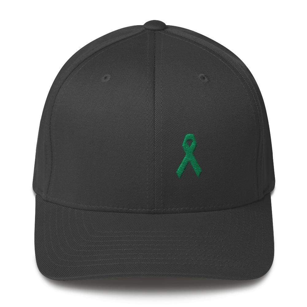 Green Awareness Ribbon Twill Flexfit Fitted Hat For Gallbladder & Liver Cancer - S/m / Dark Grey - Hats