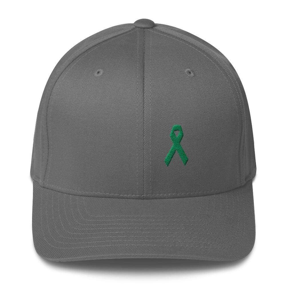 Green Awareness Ribbon Twill Flexfit Fitted Hat For Gallbladder & Liver Cancer - S/m / Grey - Hats