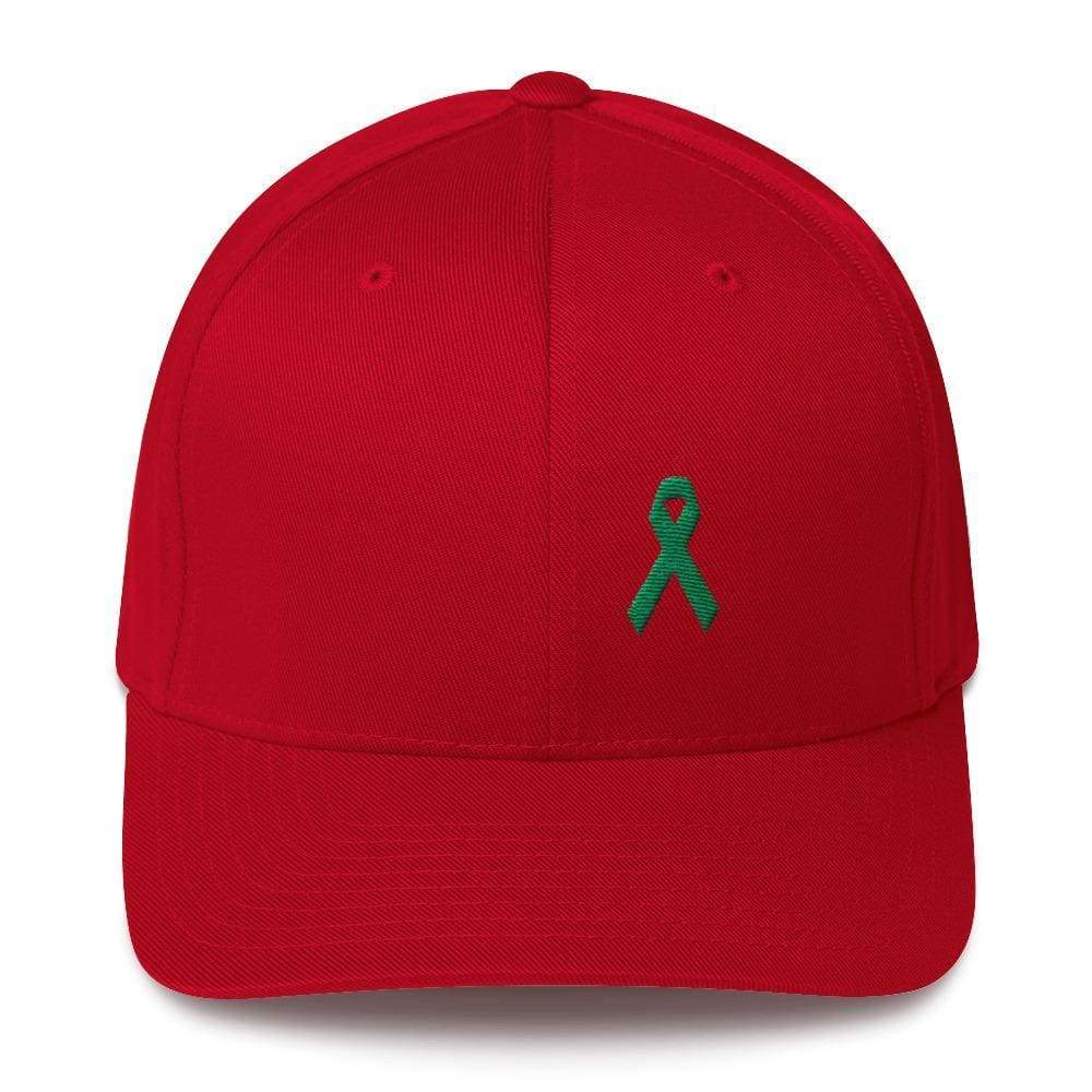 Green Awareness Ribbon Twill Flexfit Fitted Hat For Gallbladder & Liver Cancer - S/m / Red - Hats