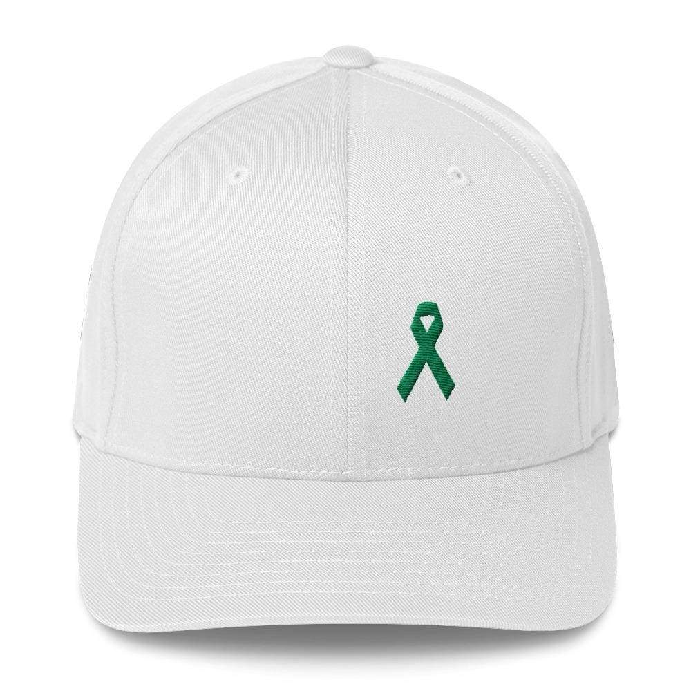 Green Awareness Ribbon Twill Flexfit Fitted Hat For Gallbladder & Liver Cancer - S/m / White - Hats