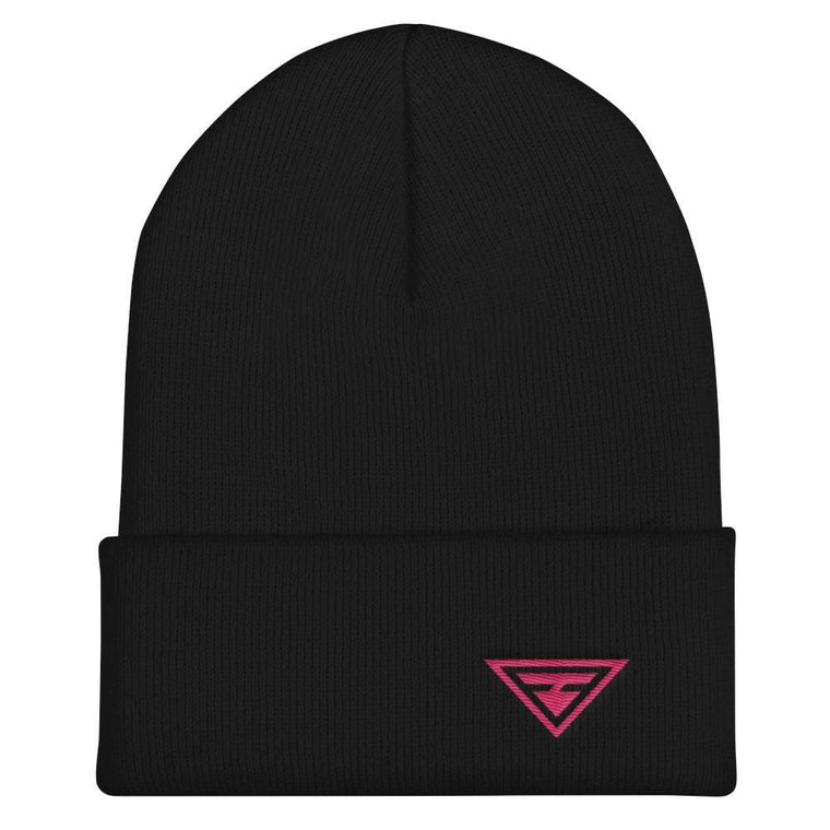 Hero Cuffed Beanie with Pink Embroidery