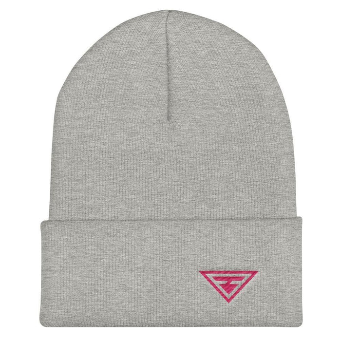 Hero Cuffed Beanie with Pink Embroidery - One-size / Heather Grey - Hats