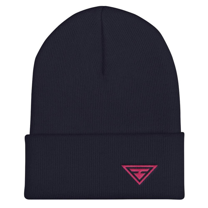Hero Cuffed Beanie with Pink Embroidery - One-size / Navy - Hats