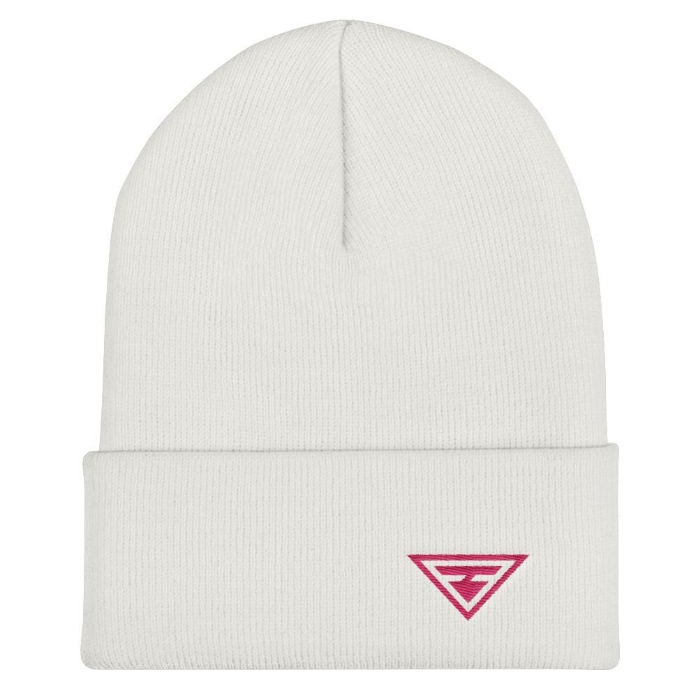 Load image into Gallery viewer, Hero Cuffed Beanie with Pink Embroidery - One-size / White - Hats