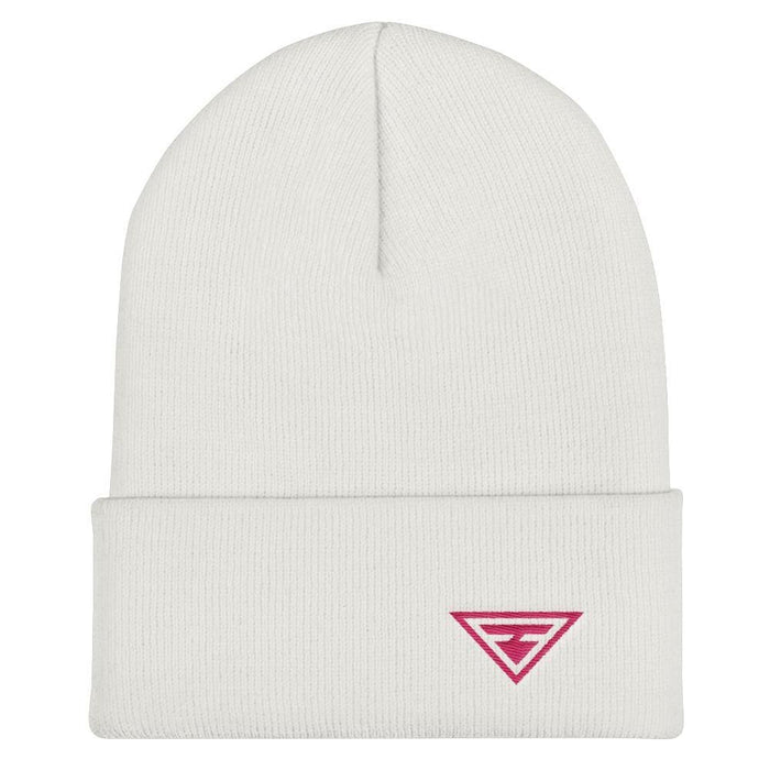 Hero Cuffed Beanie with Pink Embroidery - One-size / White - Hats