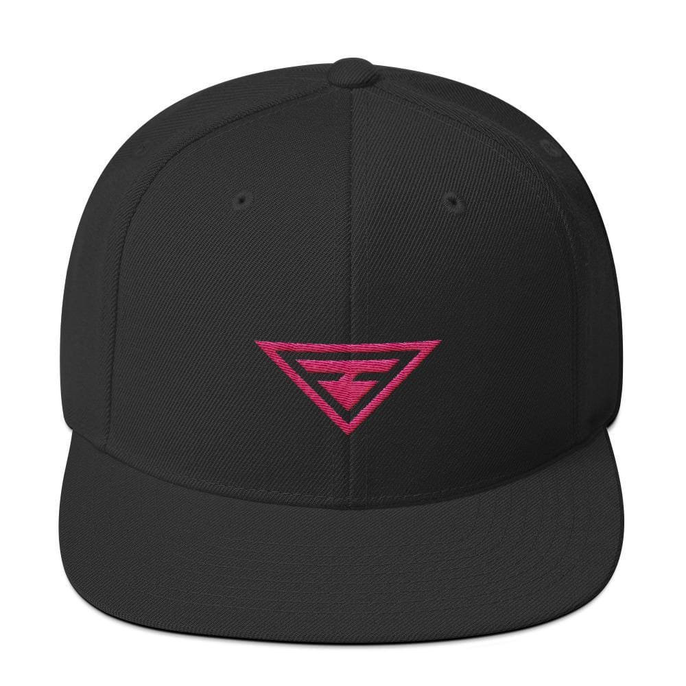 Hero Snapback Hat with Flat Brim Embroidered in Pink Thread - One-size / Black - Hats