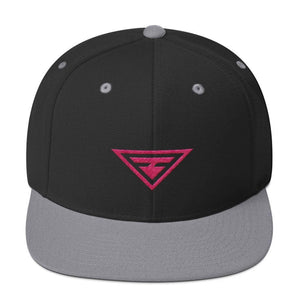 Hero Snapback Hat with Flat Brim Embroidered in Pink Thread - One-size / Black & Silver - Hats