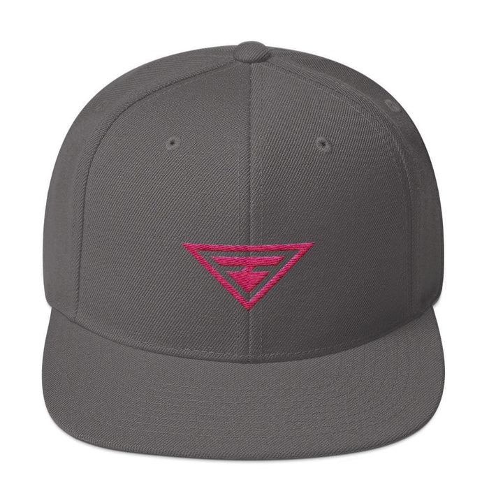 Hero Snapback Hat with Flat Brim Embroidered in Pink Thread - One-size / Dark Grey - Hats