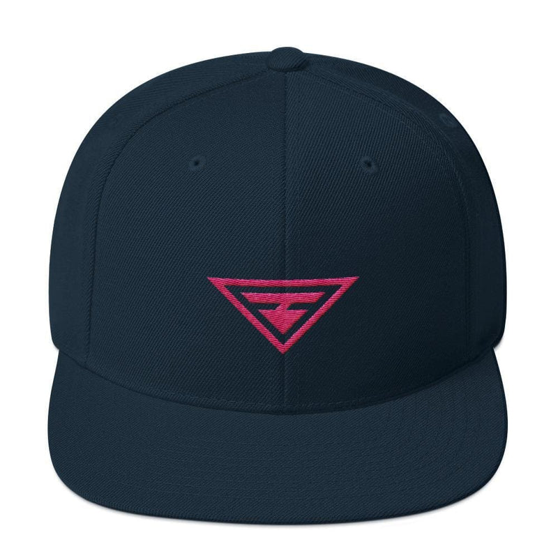 Hero Snapback Hat with Flat Brim Embroidered in Pink Thread - One-size / Dark Navy - Hats