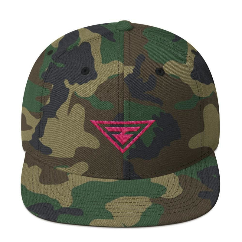 Hero Snapback Hat with Flat Brim Embroidered in Pink Thread - One-size / Green Camo - Hats