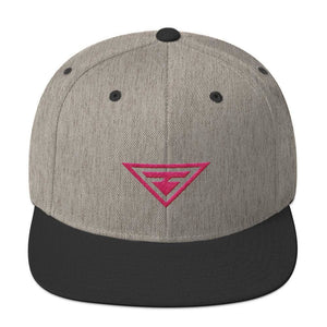 Hero Snapback Hat with Flat Brim Embroidered in Pink Thread - One-size / Heather & Black - Hats