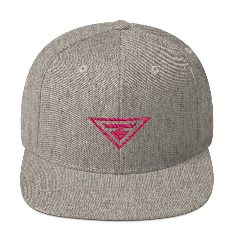Hero Snapback Hat with Flat Brim Embroidered in Pink Thread - One-size / Heather Grey - Hats