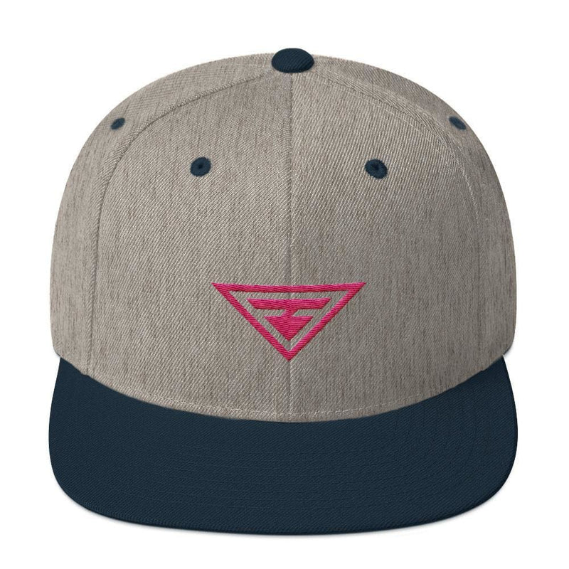 Hero Snapback Hat with Flat Brim Embroidered in Pink Thread - One-size / Heather Grey & Navy - Hats