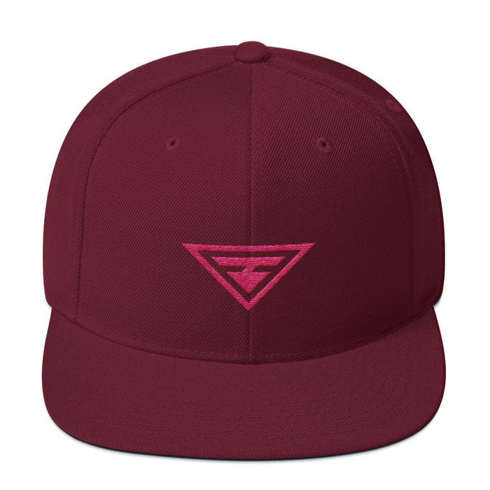 Hero Snapback Hat with Flat Brim Embroidered in Pink Thread - One-size / Maroon - Hats