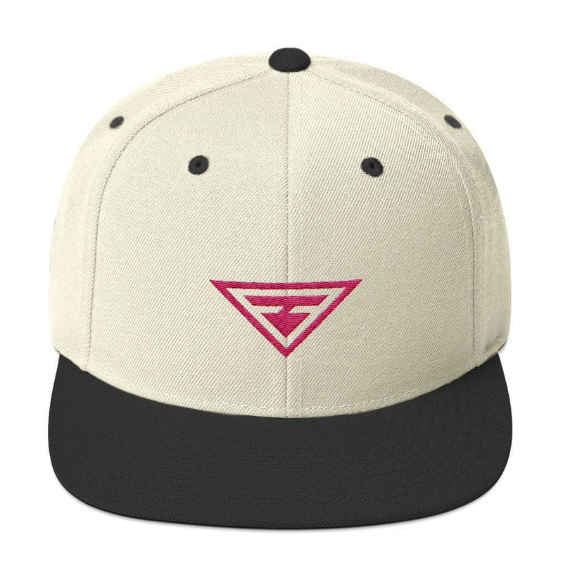 Hero Snapback Hat with Flat Brim Embroidered in Pink Thread - One-size / Natural & Black - Hats