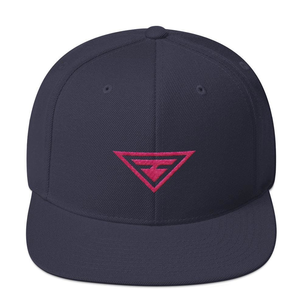 Hero Snapback Hat with Flat Brim Embroidered in Pink Thread - One-size / Navy - Hats