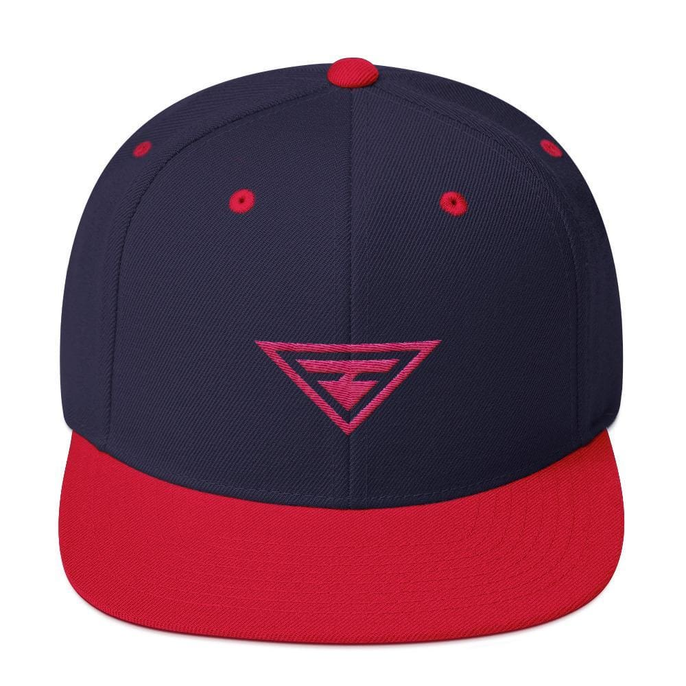 Hero Snapback Hat with Flat Brim Embroidered in Pink Thread - One-size / Navy & Red - Hats