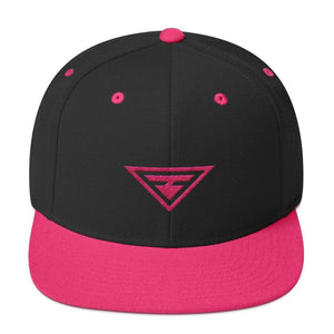 Hero Snapback Hat with Flat Brim Embroidered in Pink Thread - One-size / Neon Pink - Hats