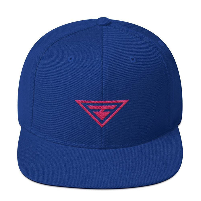 Hero Snapback Hat with Flat Brim Embroidered in Pink Thread - One-size / Royal Blue - Hats