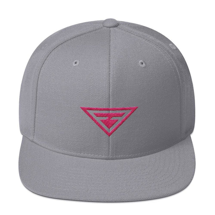 Hero Snapback Hat with Flat Brim Embroidered in Pink Thread - One-size / Silver - Hats